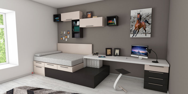 modern bedroom with computer desk and wall decor