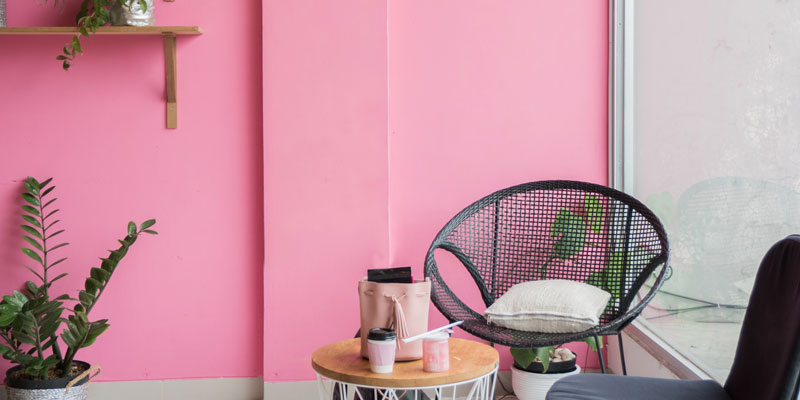 indoor lounge chair with coffee table and plants against pink-painted wall
