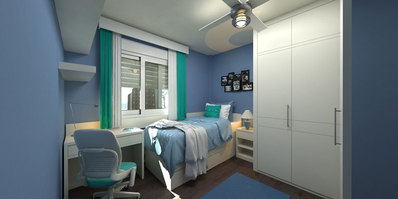 small apartment bedroom with desk, bed, and closet
