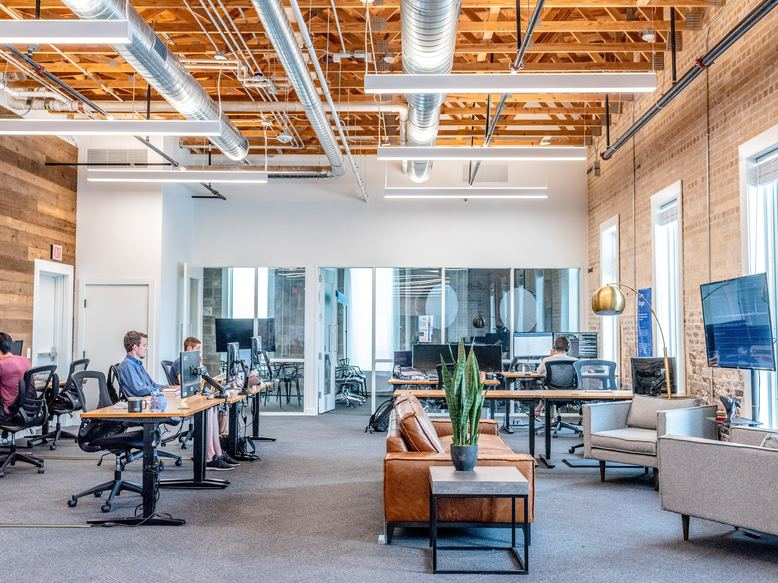 newly remodeled office space with biophilic designs
